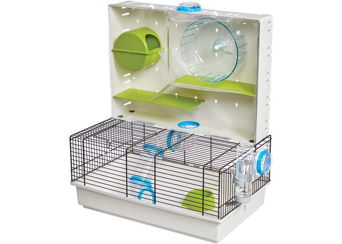 Arcade hamster cage with transparent front cover on vertical lid. Inside the cover are exercise wheel, hamster hideaway, and two ladders connecting three platforms.