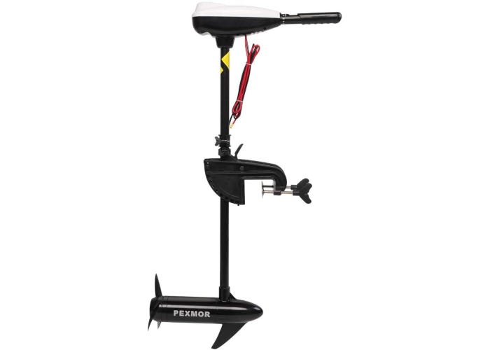 Side view of a black 86 lb. thrust trolling motor with a fiberglass composite shaft.