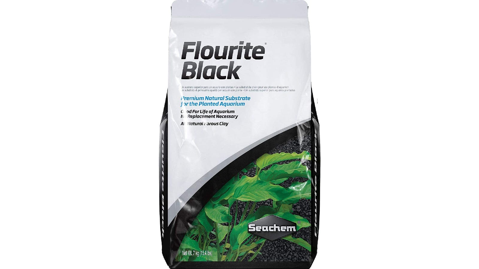 white plastic bag with black sand and green plants on the lower half of the cover