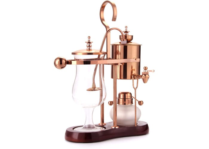 Rose gold siphon coffee maker with wood base, stainless steel water retainer, glass carafe, and frosted glass alcohol burner