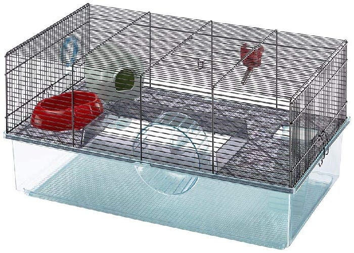 Hamster cage with wire top and plastic bottom. Inside the cage are water bottle, food dish, exercise wheel, and hamster hideaway