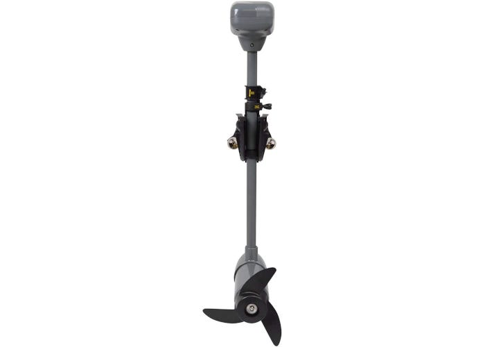 """Rear view of a gray and black trolling motor with a 24"""" shaft and three propellers."""