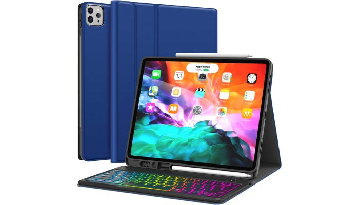 an iPad standing in its blue case that comes with a lit keyboard