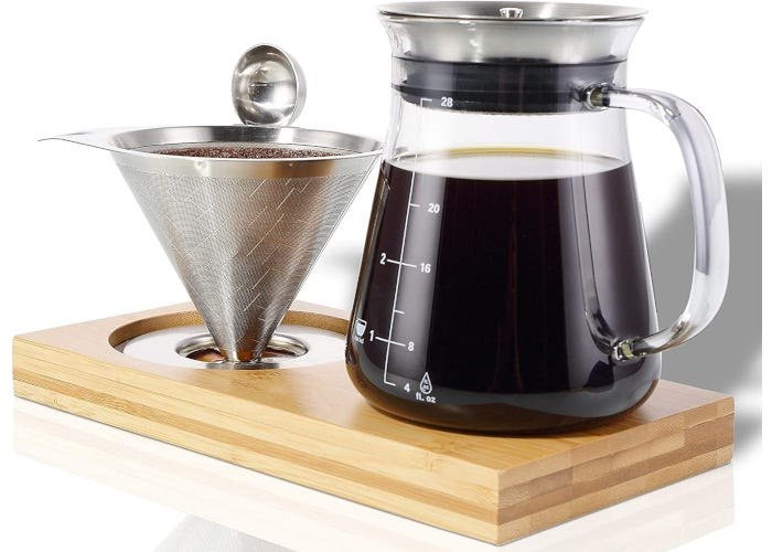 Pour-over coffee set that includes a glass carafe, reusable stainless steel filter, bamboo tray, and stainless steel coffee spoon.