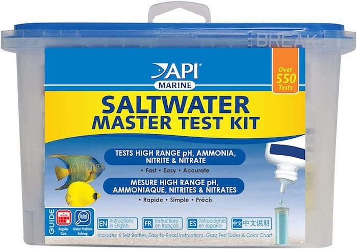 saltwater aquarium testing kit in a carrying bin
