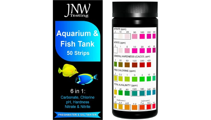Box of fish tank water testing strips and bottle with levels