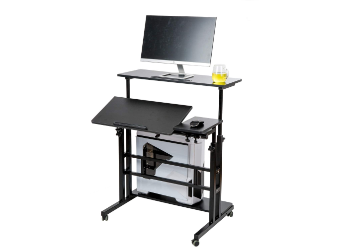 An adjustable standing desk with two surfaces and storage space below.