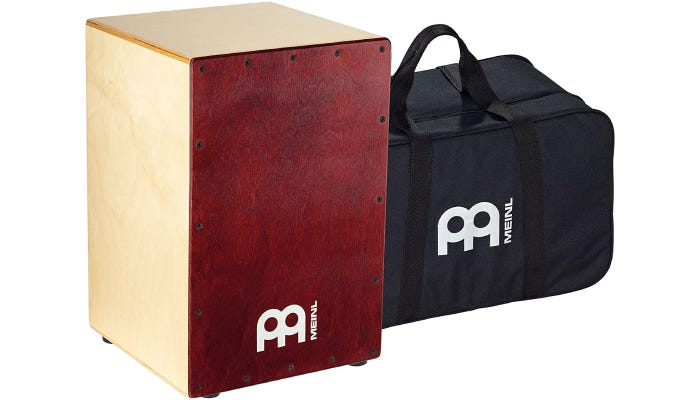 box-shaped Baltic birch wooden Cajon drum with a rear sound port and a carrying bag included.