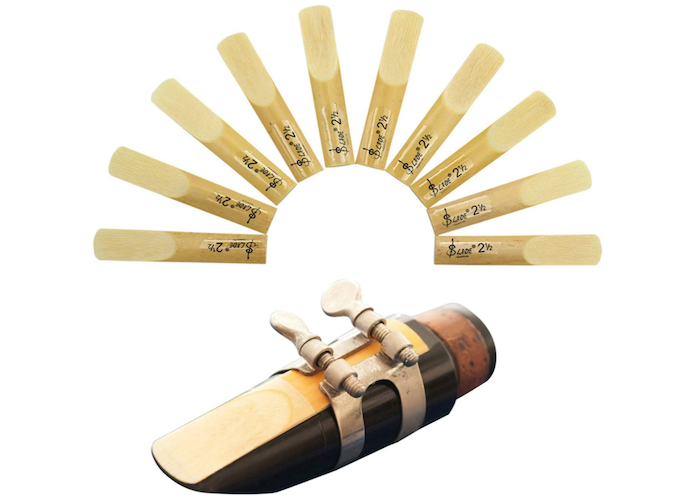 10 clarinet reeds splayed out around a clarinet mouthpiece with the reed showing