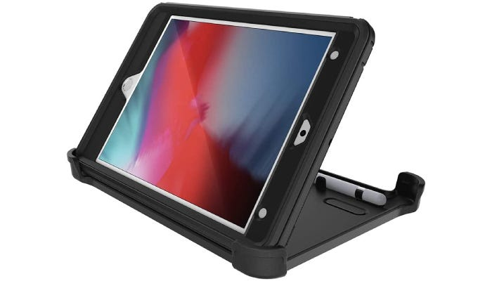 iPad case with kick stand in place to make it stand up horizontally