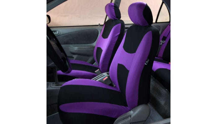 Two-tone purple and black front and back car seat covers are shown covering the interior seats of a car.