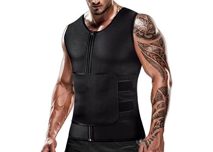 A male model with arm tattoos in a black training vest.