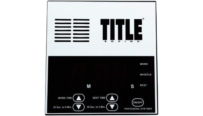 Black and white boxing timer with Work Time, Rest Time, and On and Off buttons