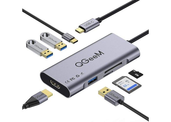 Sleek aluminum alloy USB-C hub with ports for HDMI, three USB 3.0, SD card, USB-C, and TF card