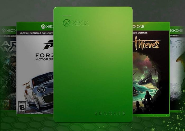 Green external HDD with Xbox branding and USB 3.0 technology