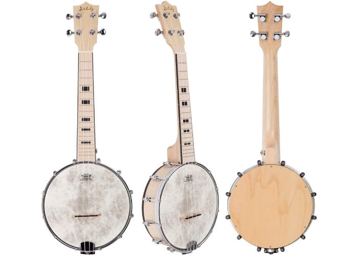 Front, side, and back view of a 4-string banjolele.