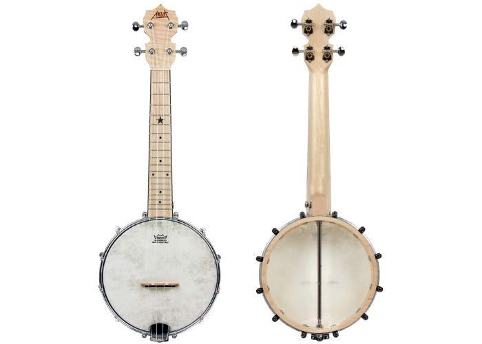 Front and back view of an open-back, 4-string banjolele.