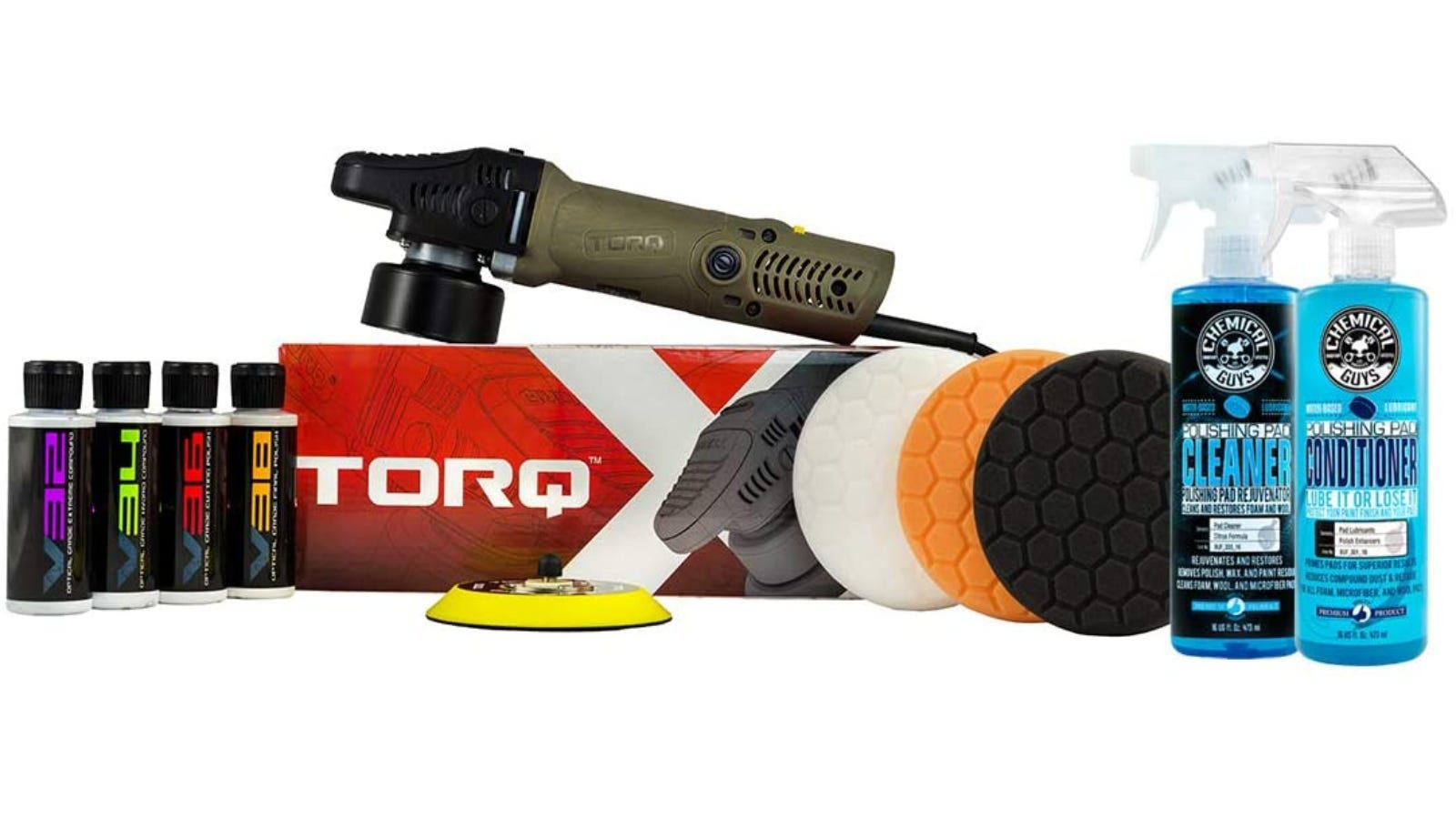 The Torq car polishing device displayed on top of its packing with several bottles of car polishing products beside it.