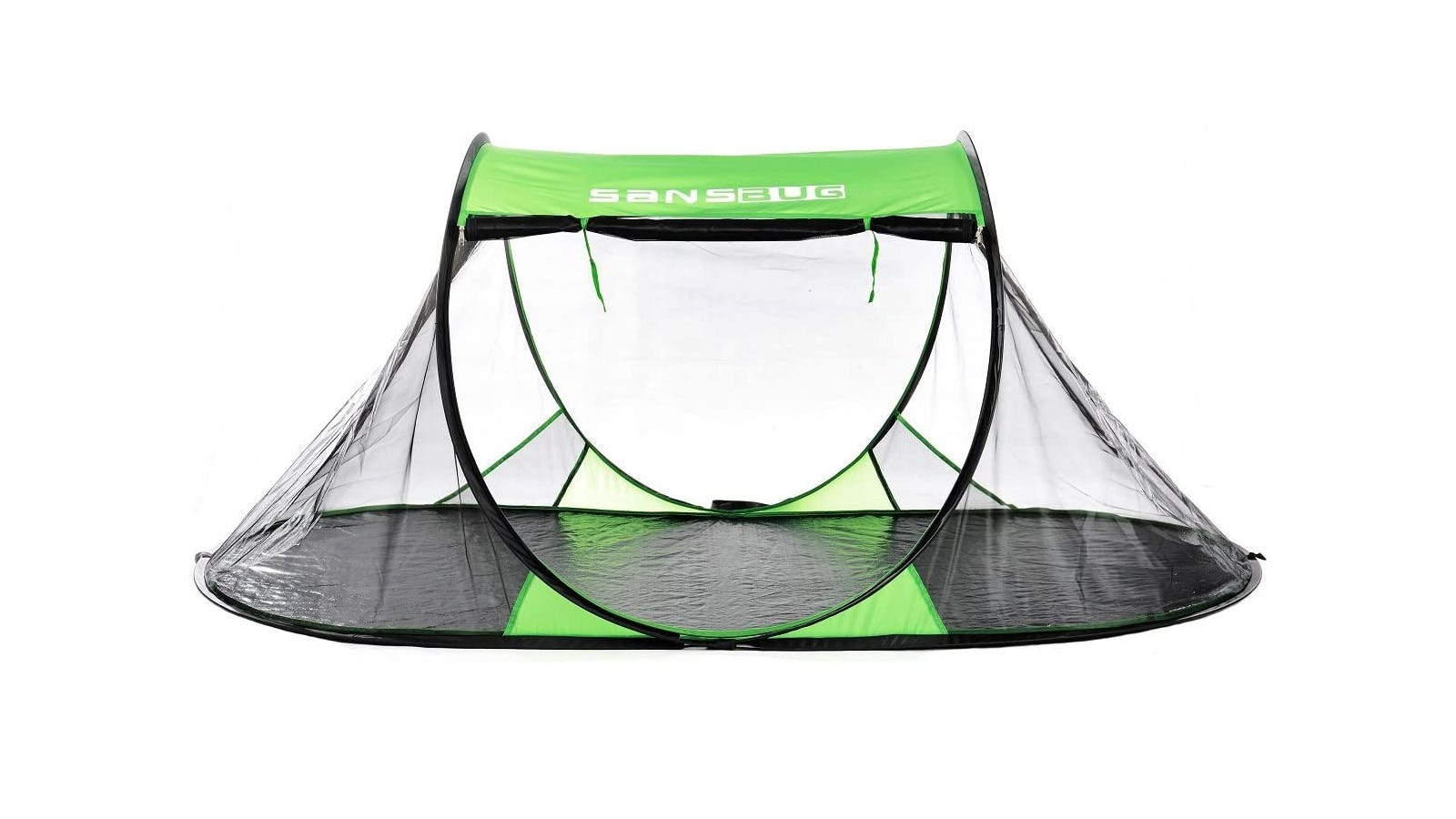 A green and black mosquito net tent that fits one person.