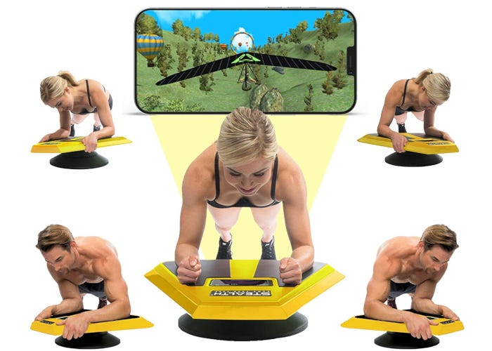 Yellow and black balancing plank platform with phone holder used to play interactive games while doing a plank workout