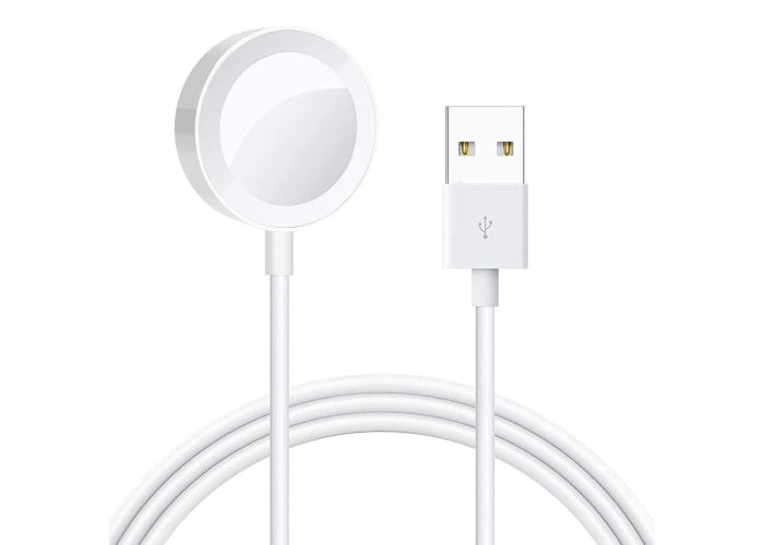 White 1M long USB Apple Watch charging cable with magnetic charging area