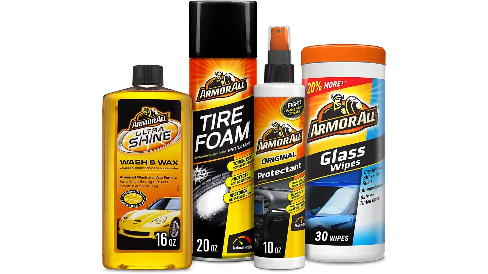 Four orange and black colored car cleaning products lined up.