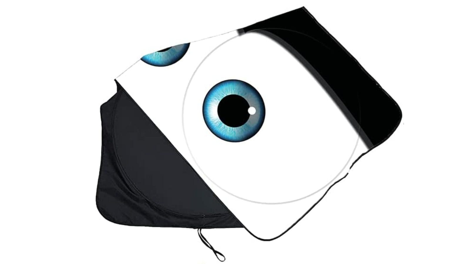 A folded sunshade that features two large cartoon eyes.