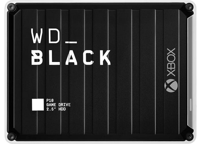 Xbox-branded black external HDD with unique design and rugged construction