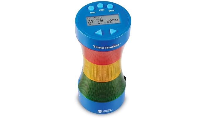 Timer shaped as column, lights up red, yellow or green indicating time left