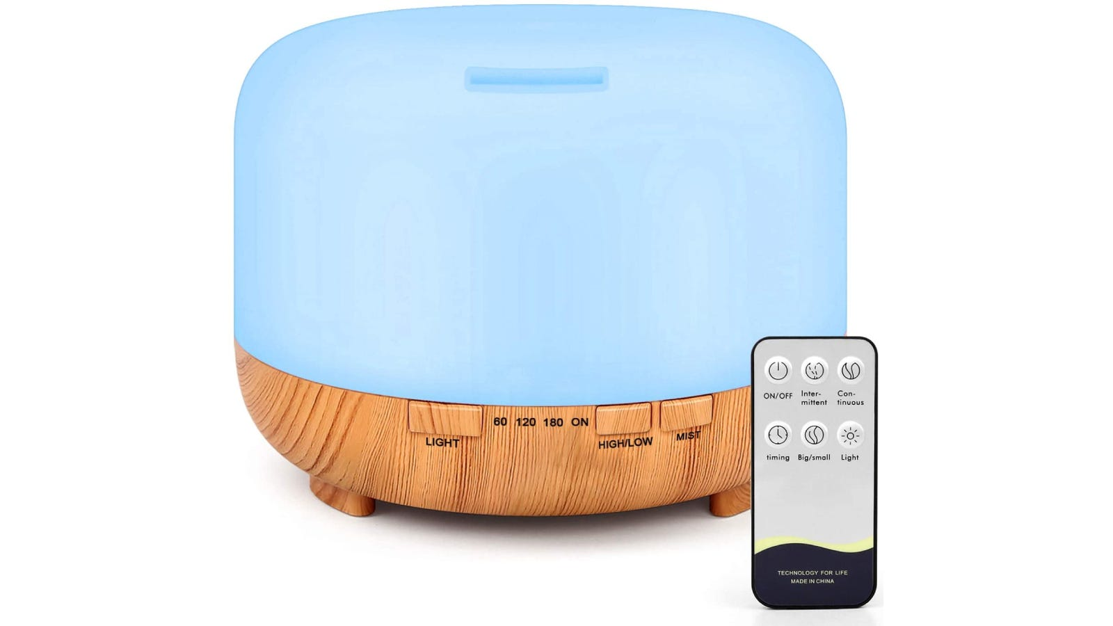 A blue and wood patterned diffuser placed beside its silver remote.