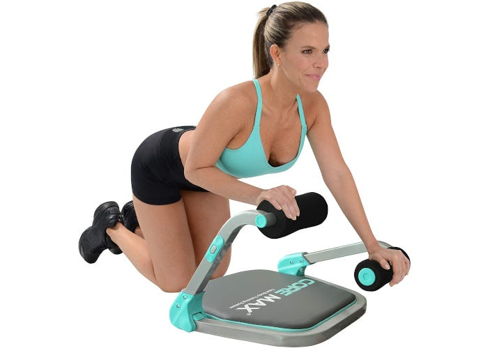 Teal and grey home gym equipment with cushioned seat and multiple resistance levels