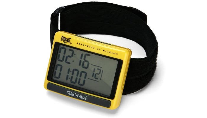 Yellow, illuminated timer with band for the wrist
