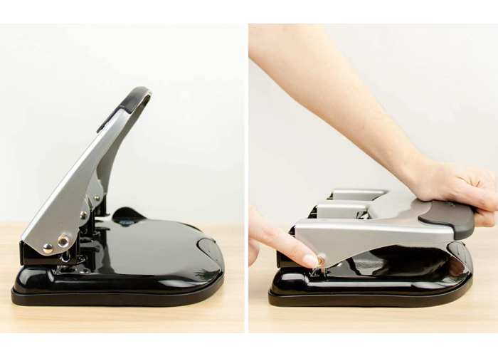 A hole punch with a lever on the left, and on the right is a person demonstrating it in use