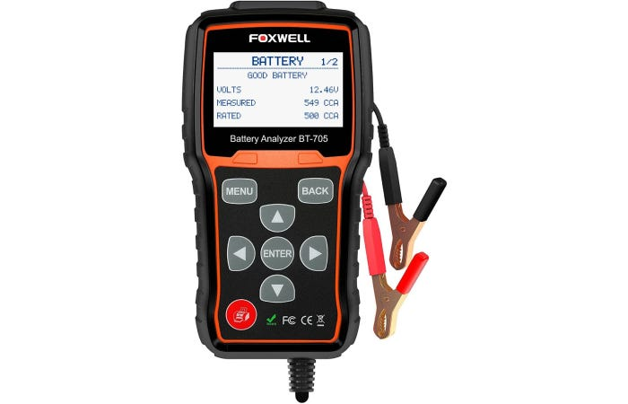 Foxwell car battery tester with a screen, buttons, and connector claws to battery
