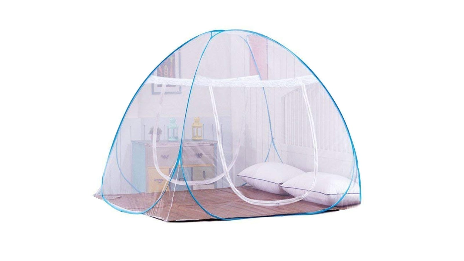 A mosquito net with white lace and blue seams sitting against a white background.