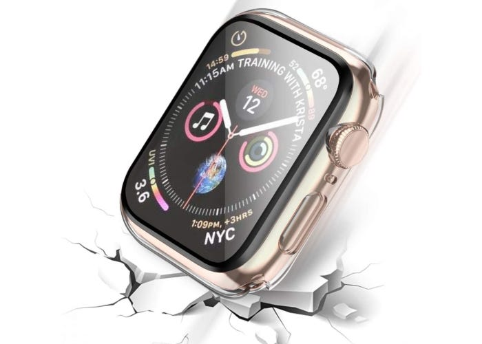 Clear Apple watch case and tempered glass screen protector