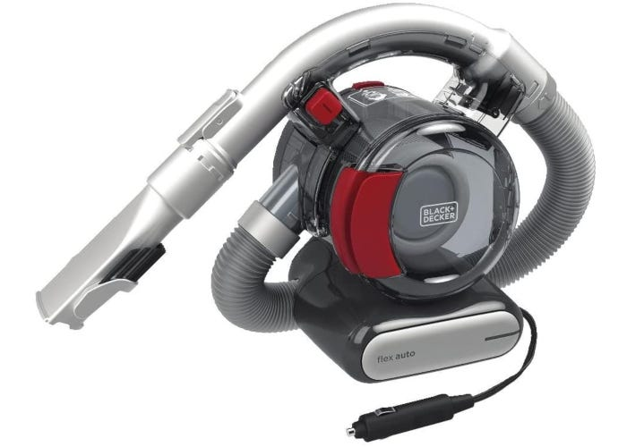 Compact red corded car vacuum with flexible hose design and long suction attachment.