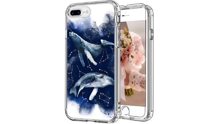 an iPhone case with a whale on the cover.