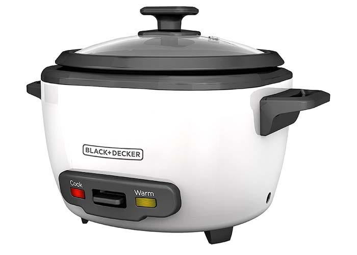 large white rice cooker with black lid