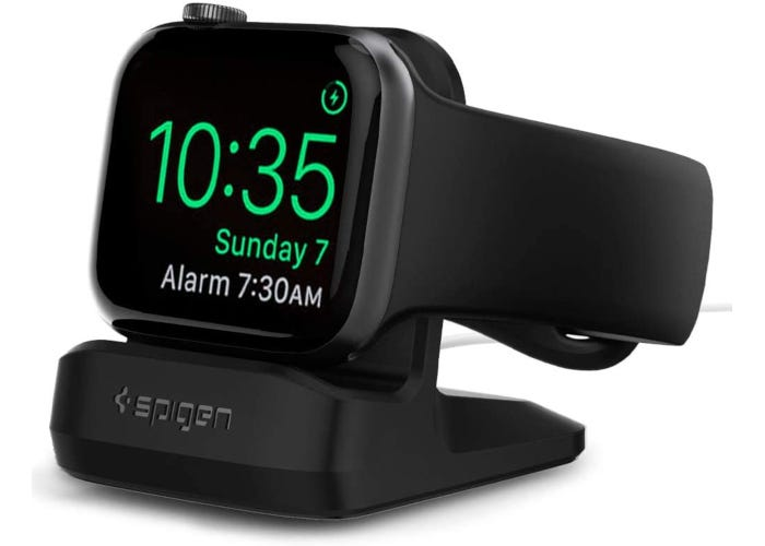 Black Apple Watch charging stand with original Apple Watch charger and Nightstand Mode compatibility