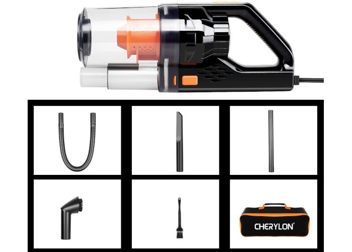 Black corded car vacuum cleaner pictured with storage bag, three vacuum attachments, a brush, and extension tube.