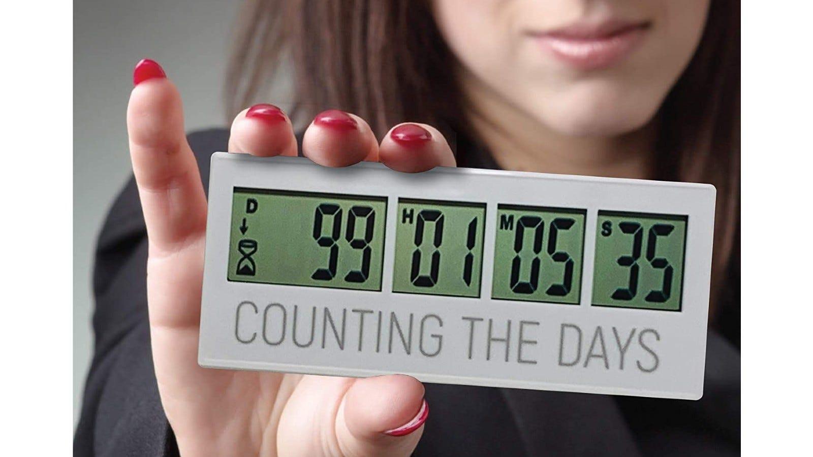 This countdown timer has large digital display screen