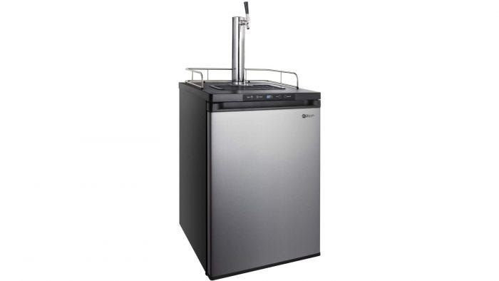 An aluminum kegerator with a chrome faucet and guardrail on top.