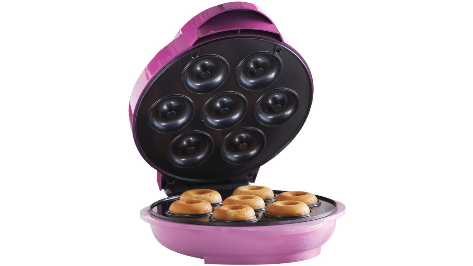 a purple round donut maker with seven donuts inside