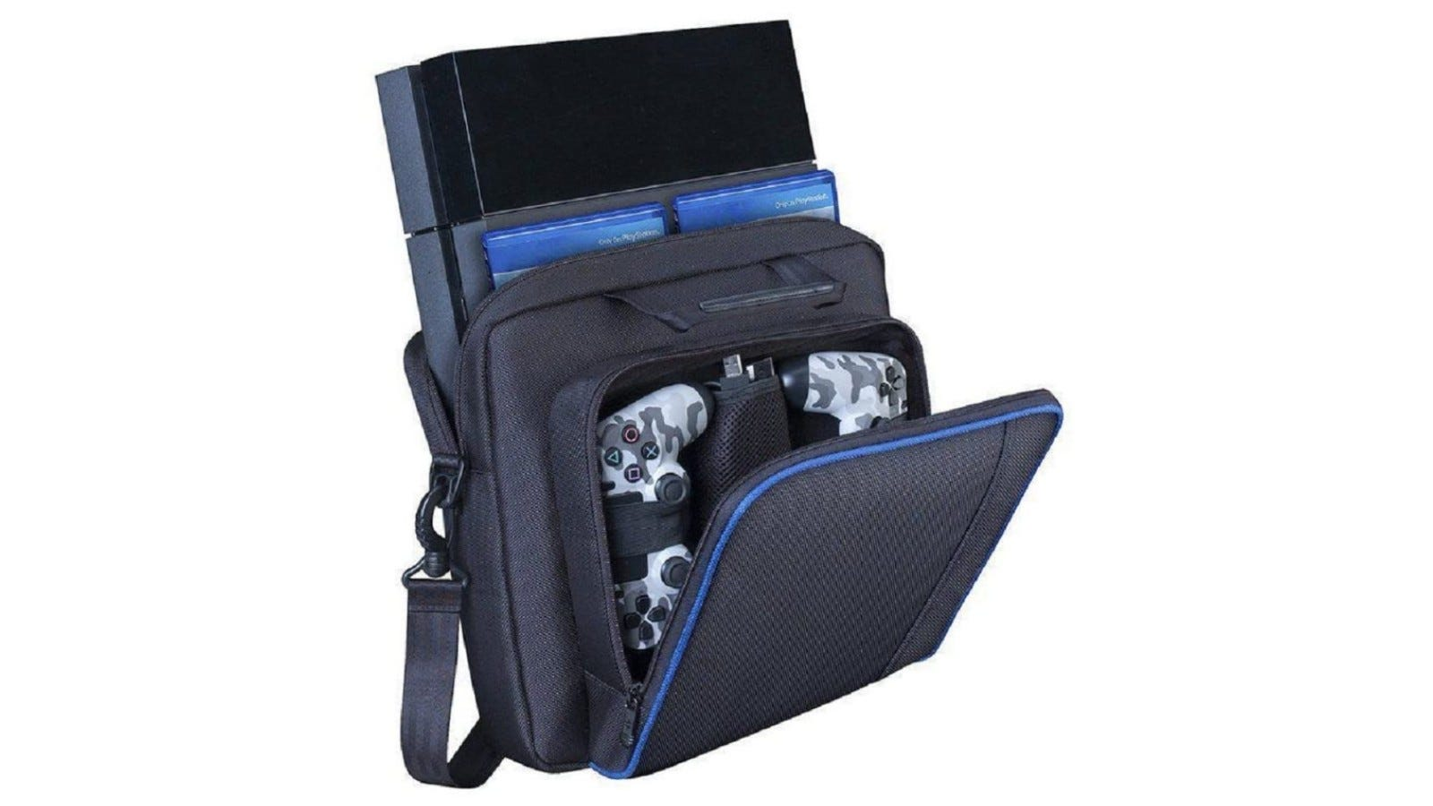 A premium carrying case for gaming consoles and accessories