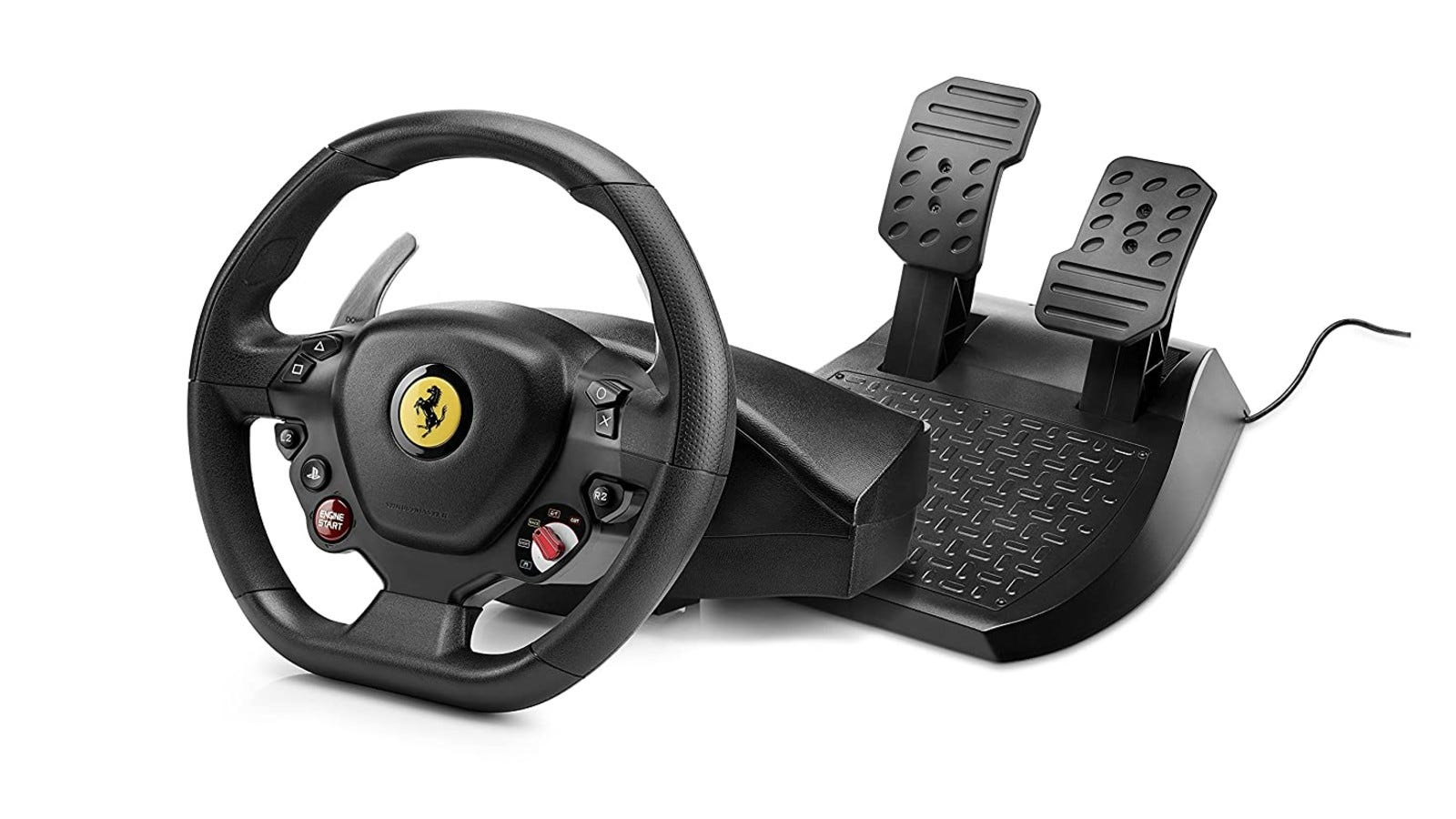 A full-size racing wheel that is compatible with PlayStation consoles