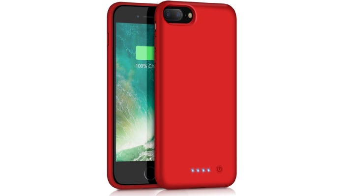 A red battery case showing the front and back.