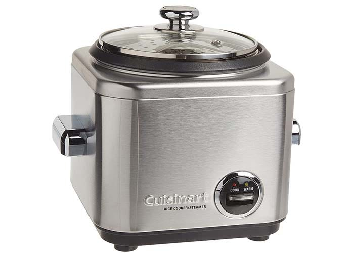 square rice cooker with brushed stainless steel body and glass lid