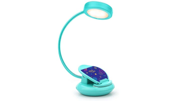 Cute turquoise lit clip-on reading light. Base is in outspace design