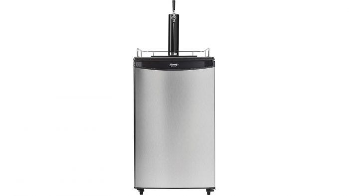 A silver kegerator with a single faucet and wheels.